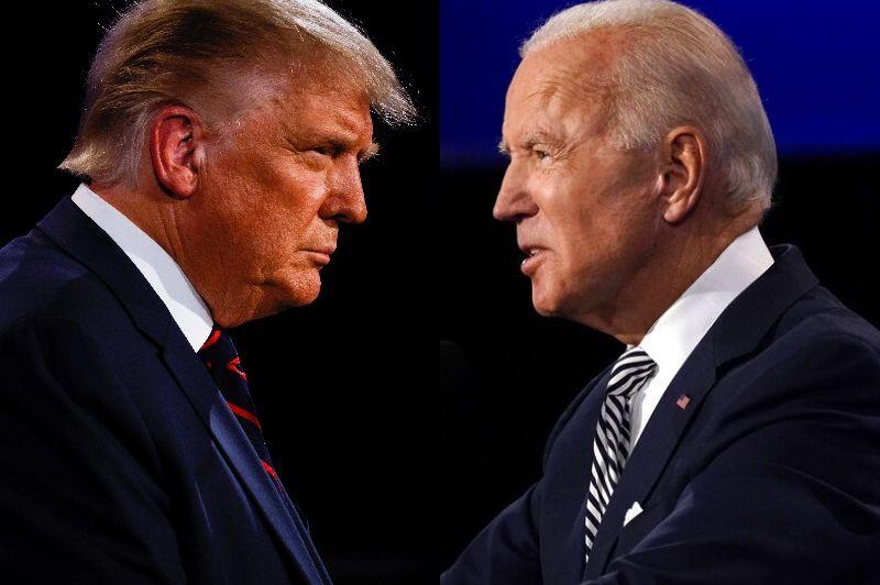 A composite image of Donald Trump and Joe Biden