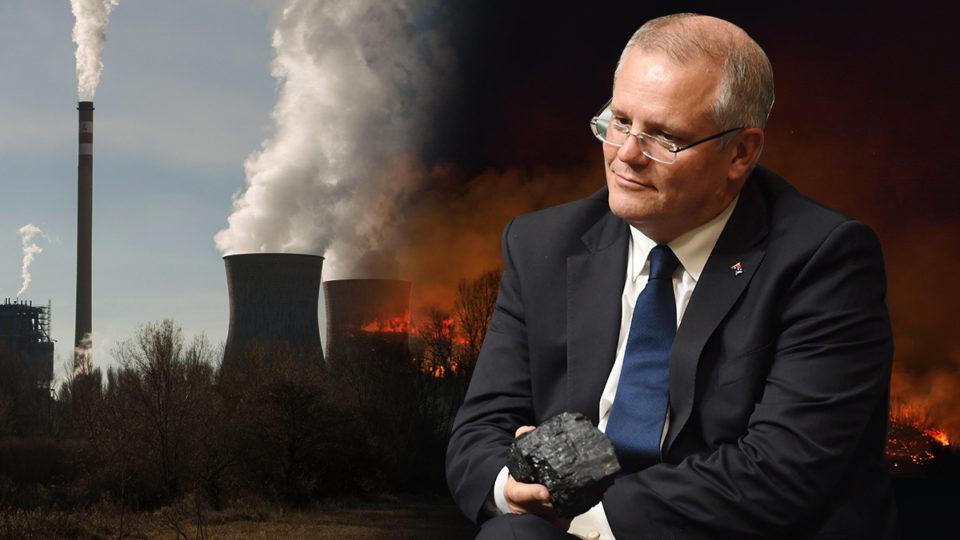 Scott Morrison holding a lump of coal