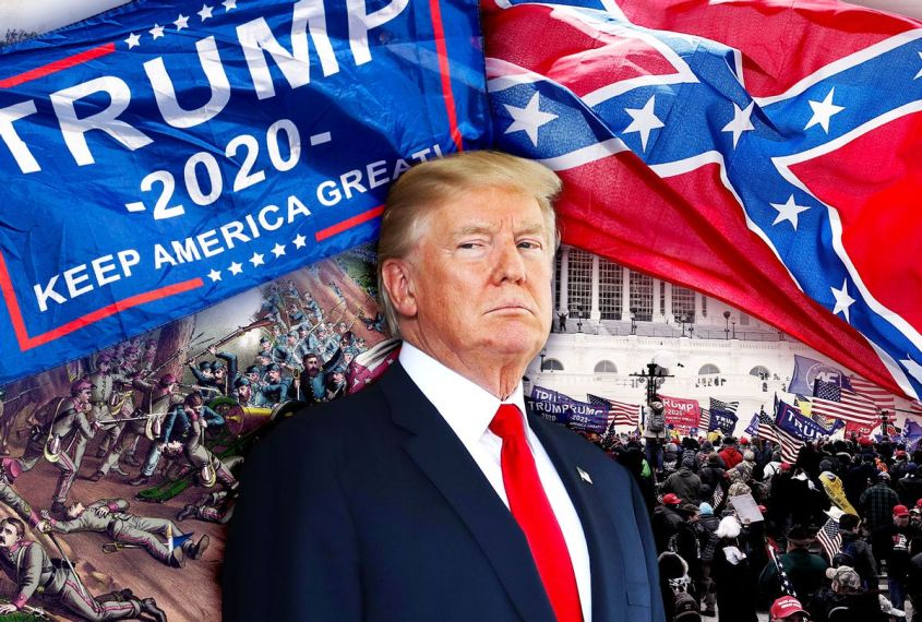 Donald Trump, a painting of the Confederate army losing and the January 6, 2021 US Capitol Riot (Photo illustration by Salon/Getty Images)