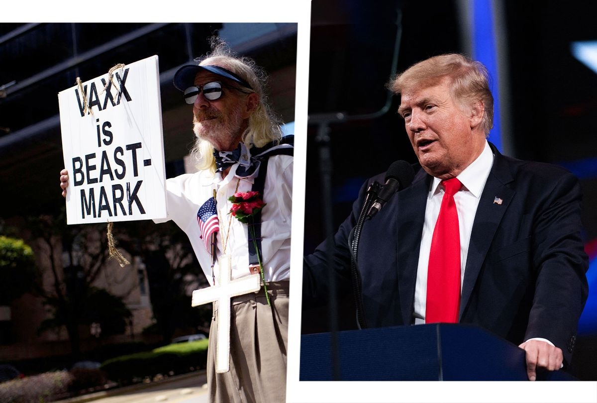 Donald Trump at CPAC   Anti-vaccine rally protesters hold signs outside of Houston Methodist Hospital in Houston, Texas, on June 26, 2021 (Photo illustration by Salon/Getty Images)