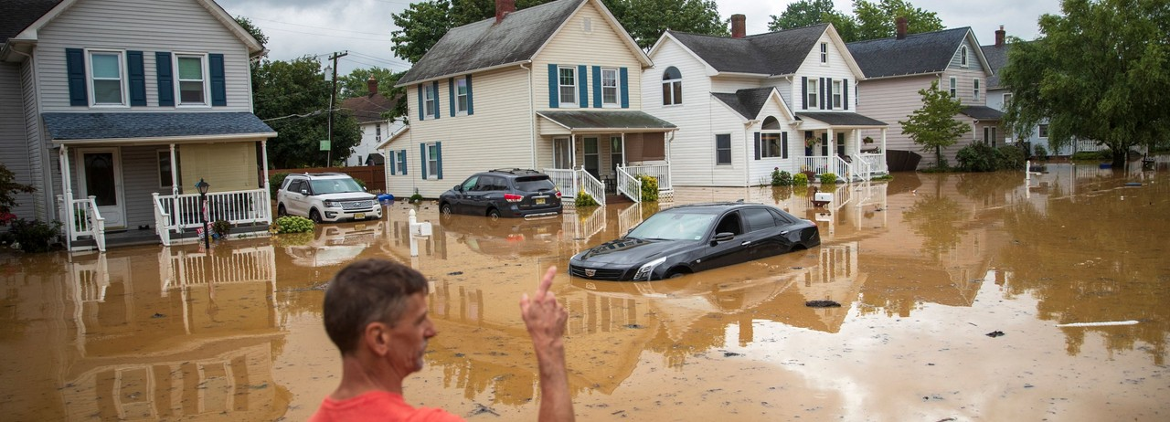 An evacuated residentpoints in the direction of his home following a flash flood, which came as Tropical Storm Henri madelandfall, in Helmetta, New Jerseyon August 22, 2021. (Photo: Tom Brenner/AFP via Getty Images)