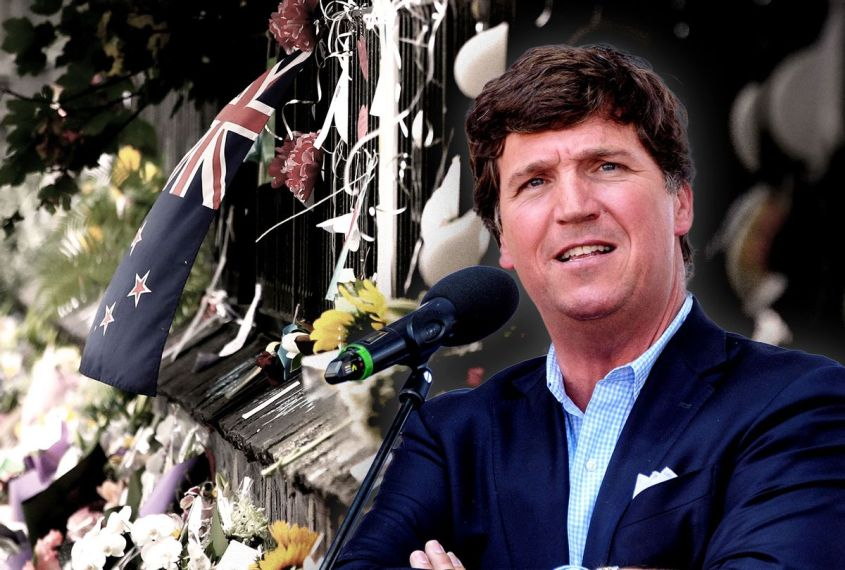 Tucker Carlson | The New Zealand flag is seen on the wall at the Botanic Gardens on March 18, 2019 in Christchurch, New Zealand. 50 people are confirmed dead, with with 36 injured still in hospital following shooting attacks on two mosques in Christchurch on Friday, 15 March. (Photo illustration by Salon/Getty Images)