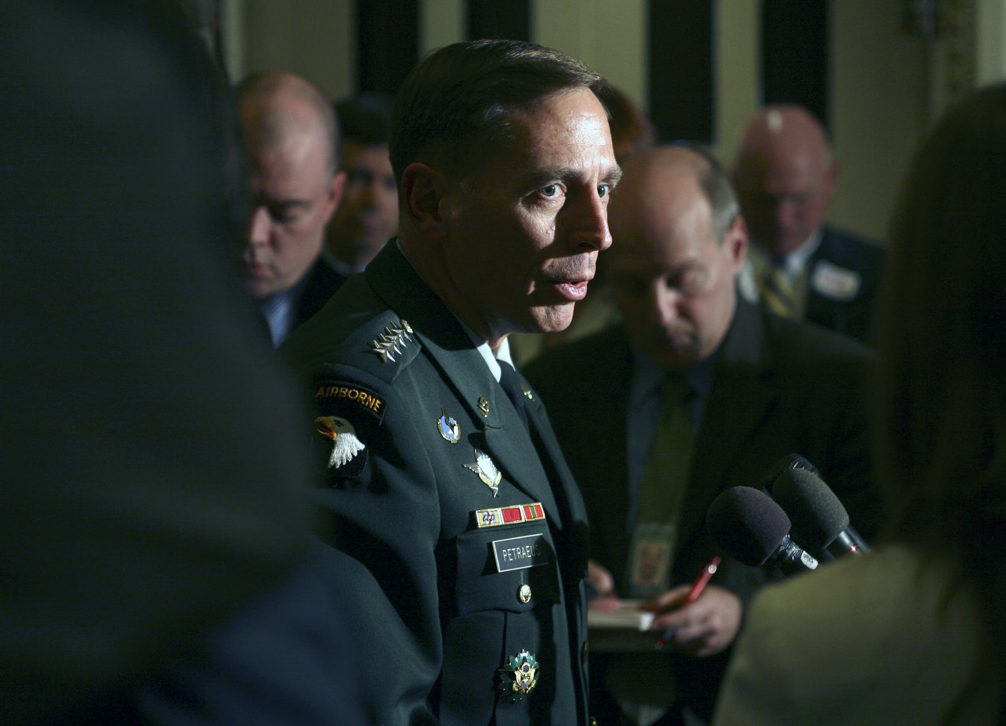Army General David Petraeus on Capitol Hill in Washington, Wednesday, April 25, 2007 after meeting with members of Congress about the latest on the war in Iraq.  (AP Photo/Lawrence Jackson)
